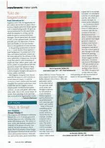 Tall & Small, review, Art News, January 2014